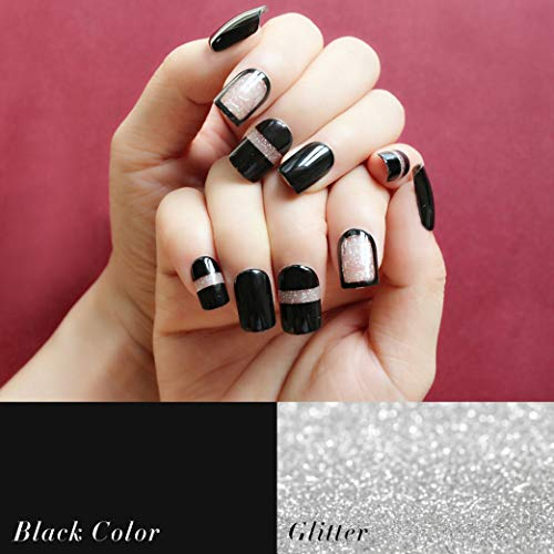 Easy Do It Yourself Halloween Nail Art (MISUD Square Flake Fake Nails 24 Pcs Black and Glitter Bling Nails Press-on Nails Shimmer Acrylic Artificial Pre-coated)