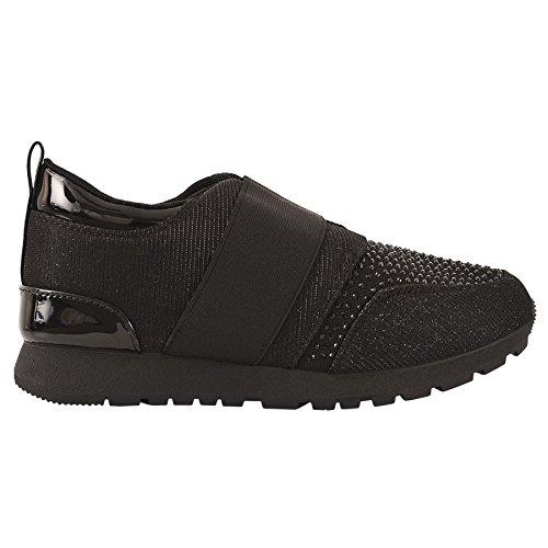 Damas PURPURINA DIAMANTE Metálico Zapatillas Moda Sin Cordones Casual Gimnasio Zapatos número negro brillante