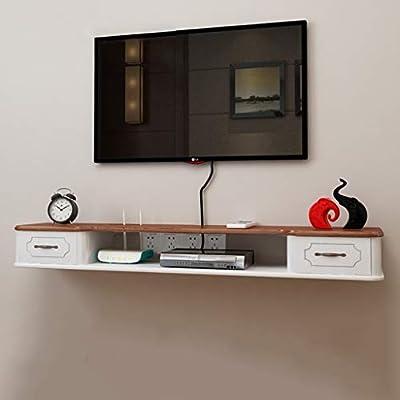 Estante Flotante Estante de Pared Mueble de TV montado en la Pared Fondo de Pared Decoración de Pared Estante Consola de TV con cajón Almacenamiento Multimedia: Amazon.es: Hogar