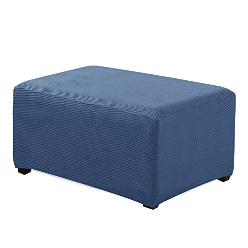 CHUN YI Oversized Ottoman Slipcover Jacquard Polyester Stretch Fabric Rectangle Folding Storage Stool Ottoman Cover Furniture Protector for Living Room (Oversize, Denim Blue)