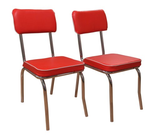 Target Marketing Systems Set of 2 Retro Upholstered Vinyl Dining Chairs with Chrome Accents, (Red Chrome Metal)