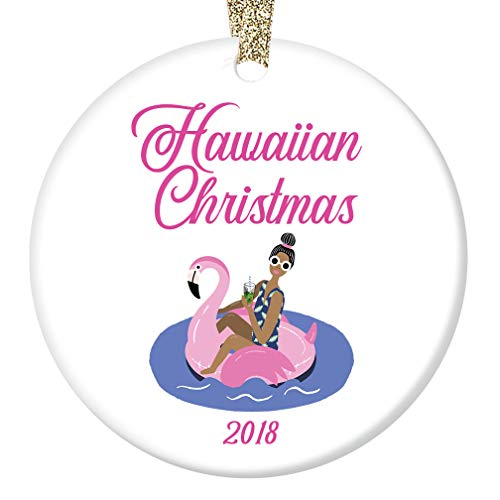 "Hawaiian Christmas Ornament 2018 Pink Flamingo Easy Living Island Beach Life Porcelain Keepsake Holiday Tree Decoration Friends Relatives 3"" Flat Ceramic Collectible with Gold Ribbon & Free Gift Box"