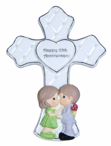 Precious Moments, Through The Years 25th Anniversary, Bisque Porcelain Cross With Stand, 123404