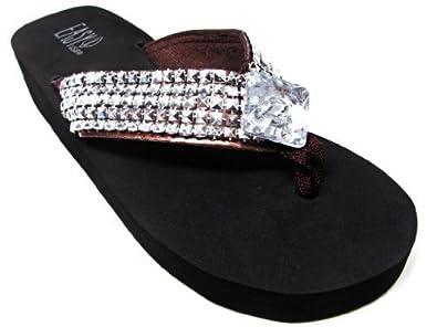 e1caa9c4c1e5 Amazon.com  Easy USA Silver Studded Bling Medallion Platform Sandals ...