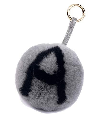 AlphaAcc Women's Rabbit Fur Ball Pom Pom Keychain with Alphabet Initial Letter for Bag or Cellphone or Car Key Ring