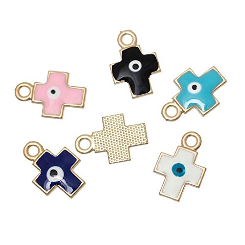 Zinc Metal Alloy Charm Pendants | Cross Gold Color Random Eye of Evil Pattern Enamel 19Mm X 13Mm (2 Pcs)