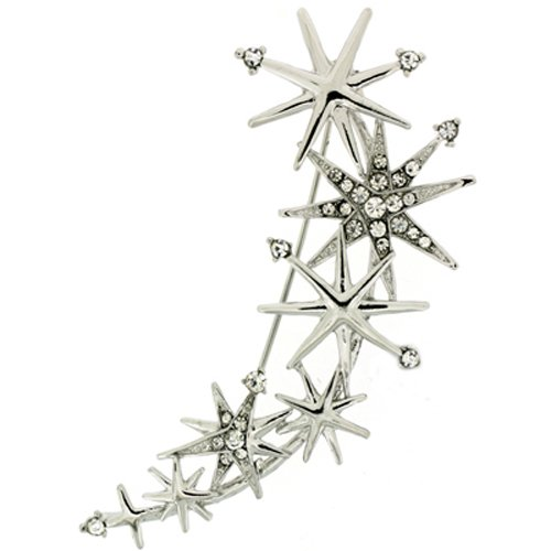 PYNK JEWELLERY Brooches Store Silver and Crystal Star Rain Brooch