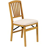 Slat Back Folding Chair in Warm Oak Finish - Set of 2