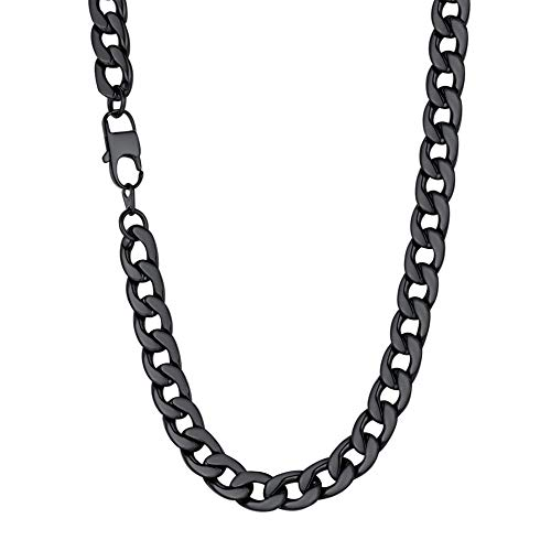U7 Men Hip Hop Style Big Chain 12MM Black Plated Stainless Steel Cuban Curb Chain Necklace ()