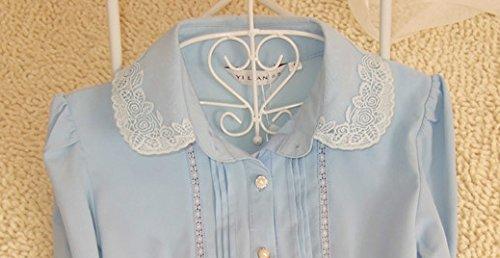 ZAMME Delgado OL de las mujeres del mono remata la blusa con botones camisas clásicas Azul B