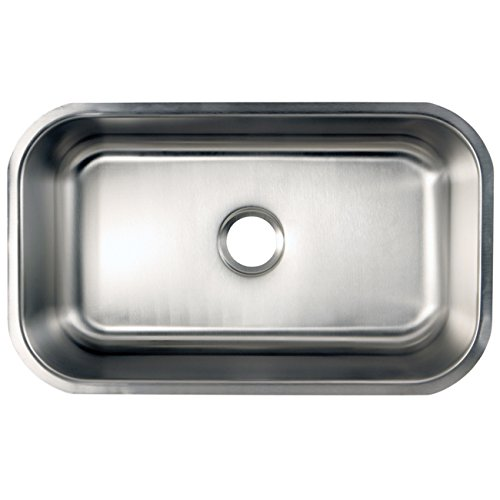 18 Gauge Brushed Stainless Steel Kingston Brass Gourmetier GKUS2321 Undermount Single Bowl Kitchen Sink 23-1//2-Inch-Length  by 21-Inch-Width by 9-Inch-Depth
