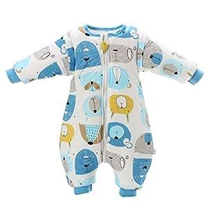 Saco de dormir para bebé con patas, con forro de invierno cálido, manga larga, saco de dormir de invierno con soporte 3,5 tog azul azul Talla:M/Körpergröße 70cm-80cm