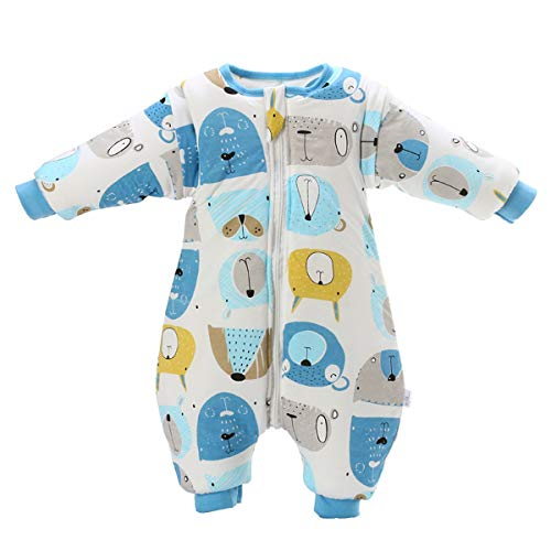 MIKAFEN Baby Sleeping Bag with Legs Warm Lined Winter Long Sleeve Winter Sleeping Bag with Foot 3.5 Tog (XL/Body Size 35.40 in - 39.40 in, - Sleeping Baby Suit Body