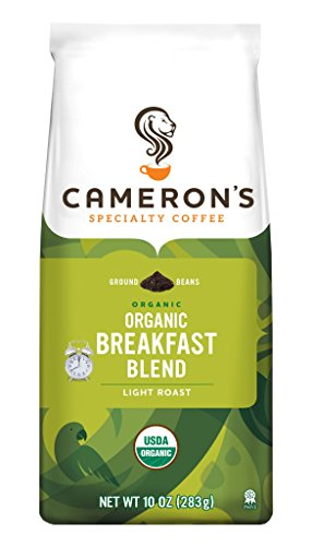 Cameron's Specialty Coffee, Organic Breakfast Blend, 10 Ounce, Ground Coffee, (Smile Face Bean Bag)