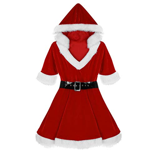 Agoky Mrs. Claus Christmas Costume Baby Xmas Outfits Hooded Mini Fancy Dress with Belt Red X-Large