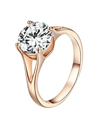 Yoursfs Engagement Rings Women Round Cut Solitaire Cubic Zirconia Promise Ring