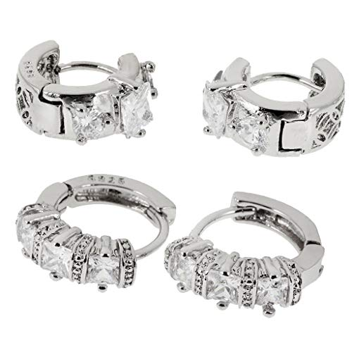 (2 Pair Silver Cubic Zirconia Hoop Earrings Women Small Hoop Crystal Earrings Necklace Jewelry Crafting Key Chain Bracelet Pendants Accessories Best)