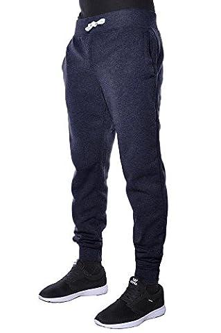 Mens Jogger Pants Active Basic Urban Harem Slim Fit Elastic Fleece (Medium, Navy)