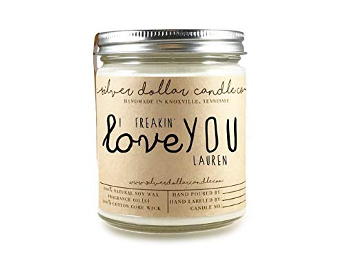 (Personalized Scented Soy Candle Mothers Day Gift for Women Boyfriend - Huge Choice of scents)