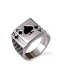 Yfnfxl Mens Fashion Vintage Ring Black Gold Plated Enamel Spades Poker Ring