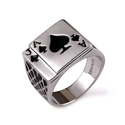 Yfnfxl Mens Stainless Steel Vintage Ring Black Gold Plated Enamel Spades Poker Ring