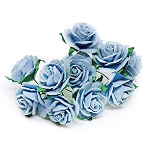 "1"" Blue Paper Flowers Paper Rose Artificial Flowers Fake Flowers Artificial Roses Paper Craft Flowers Paper Rose Flower Mulberry Paper Flowers, 20 Pieces 41"