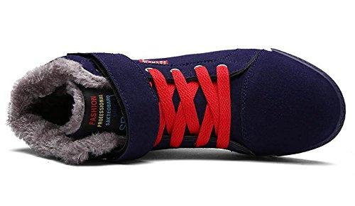Santimon Hombres Botas De Invierno Nieve Ata Para Arriba El Forro De Piel De Invierno Caliente Antideslizante Tobillo Senderismo Al Aire Libre Zapatos De Plataforma De Plataforma Azul