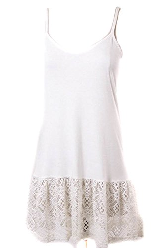 Ruffled Lace Bottom (Eikosi Women's Cami Top Extender with Ruffled Pompon Lace Bottom Medium)