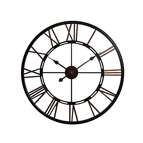 LSio Clock Nordic Modern Minimalist Personality Creative Fashion Trend Watch Living Room Home Mute Wrought Iron Wall Clock (Color : Metallic) ()