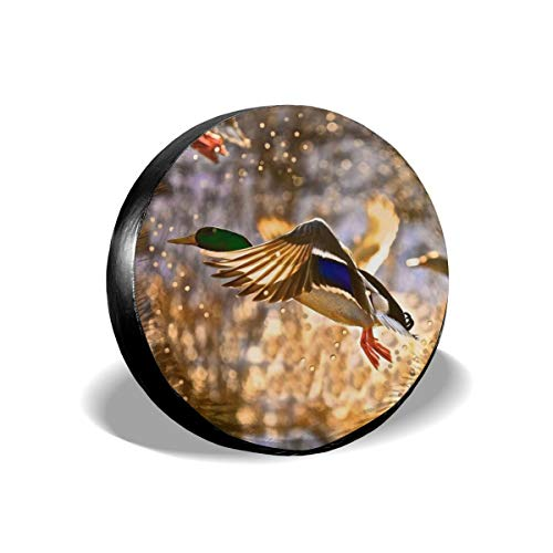 Spare Tire Cover, Beautiful Duck Pattern Printing Wheel Protectors PVC Waterproof Dustproof for Jeep Trailer SUV RV and Many Vehicles(14,15,16,17 Inch)
