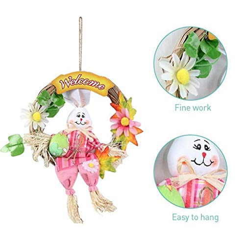 Samoii Easter Day Decoration Bunny Wreath Scarecrow Pendant Wall Door Hanging Ornament Home Festival -