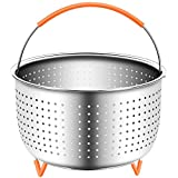 Steamer Basket Accessories For Instant Pot 6 & 8 quart - Sturdy Stainless Steel IP InstaPot Insert And Stainer - Silicone Handle And Feet For Stability, Protection And Convenience - Easy To Clean