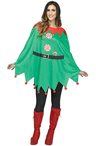 Jingle Bell Rock Costume (ELF PONCHO ADULT-As Shown-OS)