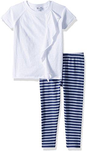 Splendid Little Girls' Stripe Legging Set, Optic White, 6/6X (Splendid Littles Leggings)