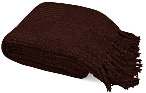 VALUE HOMEZZ, Stock CLEARANCE100% Soft Cotton Thermal Throw Blanket - Easy Care Soft Cotton Throws and Blankets (Brown Check, Throw 60 x ()