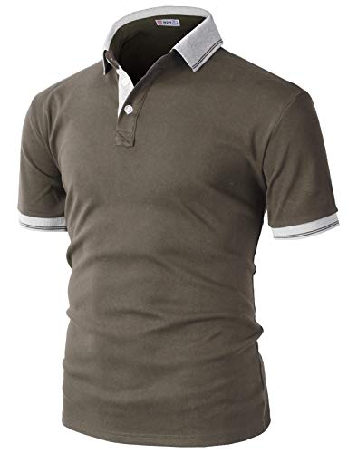 H2H Mens Casual Slim Fit Polo Brown US M/Asia L (KMTTS0560)