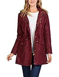 Womens Satin Faux Fur Lined Hoodie Long Coat Anorak Jacket
