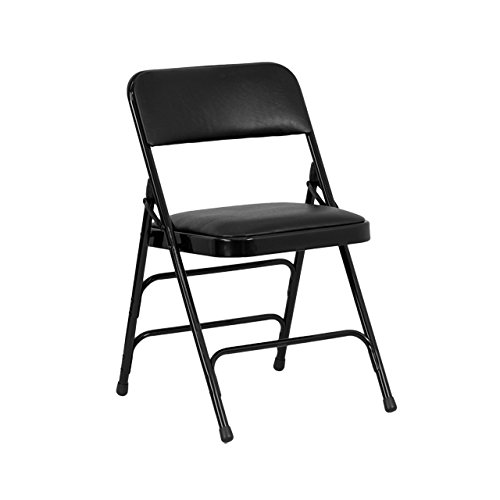 Flash Furniture Hercules Series Curved Triple Braced & Quad Hinged Black Vinyl Upholstered Metal Folding Chair
