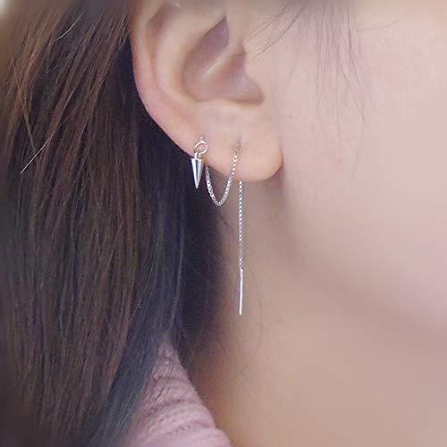 (New Sterling Silver Long-Chain Earrings 925 Silver Star Disc Cone Ear Fringe Modified Face Wear Pierced Ear Silver Fungus Chain (Cone 1)