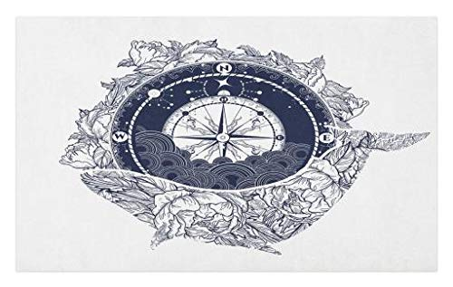 Lunarable Nautical Doormat, Antique Compass Floral Whale Tattoo Art Ocean Mystic Symbol of Adventure, Decorative Polyester Floor Mat with Non-Skid Backing, 30 W X 18 L inches, Dark Blue White by Lunarable