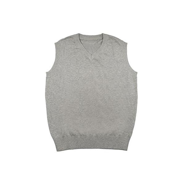 TopTie Mens Business Solid Color Plain Sweater Vest, Cotton Fit Casual Pullover