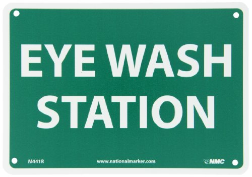 First Aid Station Sign (NMC M441R Emergency and First Aid Sign,EYE WASH STATION, 10