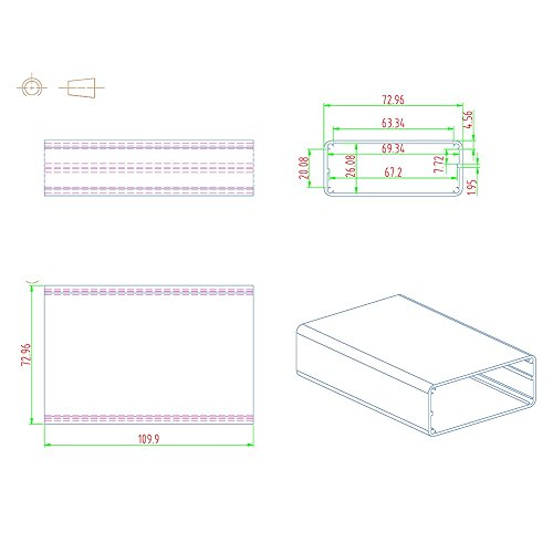 Eightwood Aluminum Project Box Electronic Enclosure Case for PCB Board DIY, 4.32'' x 2.82'' x 1.13''(LWH) Symmetrical Split Body with Stripped Sides Box by Eightwood (Image #5)