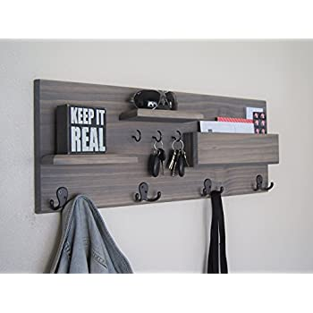 Coat Rack With Floating Shelves Key Hooks And Mail Storage Solid Wood