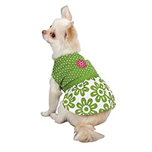 Zack & Zoey Polyester/Cotton Dog Country Club Dress, Teacup, Green