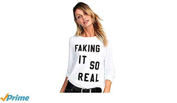 98bb8af1a6c Wildfox Faking It So Real Baggy Beach Jumper Sweater at Amazon Women s  Clothing store