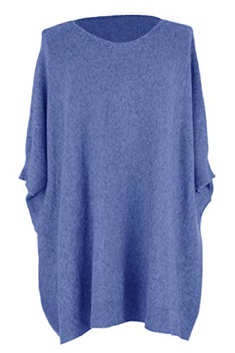 Ribbed Size Cobalt Batwing Lagenlook Size Blue Jumper Cuff Ladies One Womens Hem Plus Sweater One Knitted 4UqTA