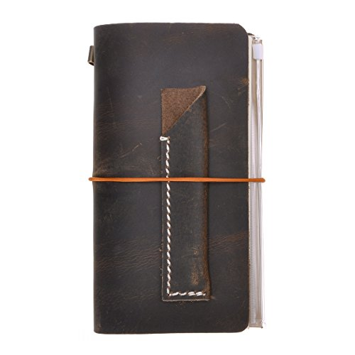 Embassy Bag Brown (Refillable Genuine Leather Writing Journal Vintage Travelers Notebook, Standard Size Set with Pen Holder, for Men Women by ZLYC, Dark Coffee)
