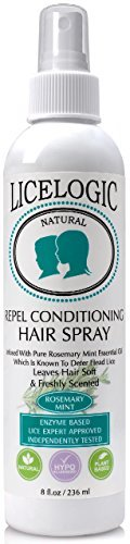 LiceLogic Natural Lice Prevention Hair Spray, Repels Super Lice, 8 oz - Mint - Non Toxic Ingredients, With Natural Plant Based Enzymes And Essential Oil, No Pesticides, Parabens, or Phthalates
