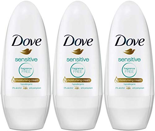 Dove Sensitive Antiperspirant Deodorant Roll-On, Fragrance-Free, 1.7 Ounce / 50 Ml (Pack of 3)